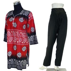 インド民族衣装パンジャビドレス2点セット L 七分袖 サルワールカミーズ アジアン エスニック|mahanadi