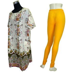 モダンスタイルのパンジャビドレス2点セット(L) インドの民族衣装 サルワールカミーズ ノースリーブ|mahanadi