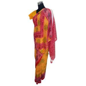 ビンディー付 インドの民族衣装サリー アジアン エスニック ジョーゼット バングラデッシュ ネパール スリランカでも|mahanadi