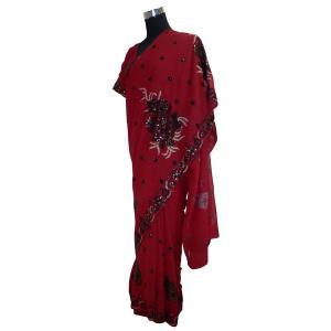 ブラウス付 インドの民族衣装サリー アジアン エスニック ジョーゼット バングラデッシュ ネパール スリランカでも|mahanadi