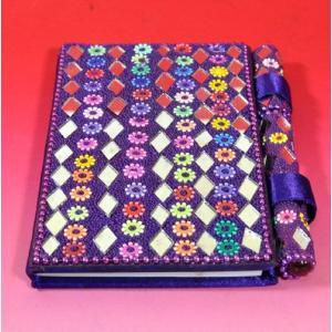 インドのド派手な手帳 アラブ風 中東 イスラム ミラー ゴテゴテ装飾 アジアン エスニック (紫)|mahanadi