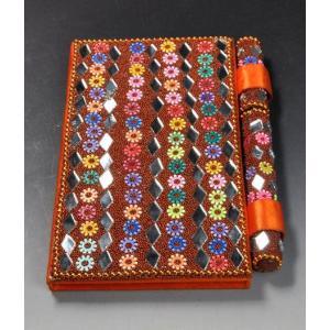 インドのド派手な手帳 アラブ風 中東 イスラム ミラー ゴテゴテ装飾 アジアン エスニック (オレンジ)|mahanadi