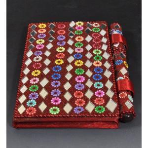 インドのド派手な手帳 アラブ風 中東 イスラム ミラー ゴテゴテ装飾 アジアン エスニック (赤茶)|mahanadi