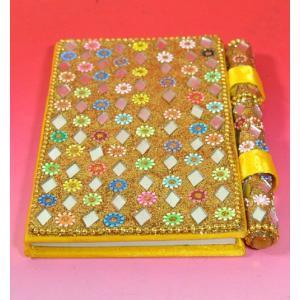 インドのド派手な手帳 アラブ風 中東 イスラム ミラー ゴテゴテ装飾 アジアン エスニック (黄)|mahanadi