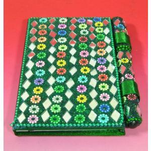 インドのド派手な手帳 アラブ風 中東 イスラム ミラー ゴテゴテ装飾 アジアン エスニック (緑)|mahanadi
