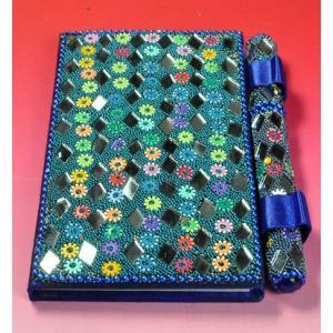 インドのド派手な手帳 アラブ風 中東 イスラム ミラー ゴテゴテ装飾 アジアン エスニック (青)|mahanadi