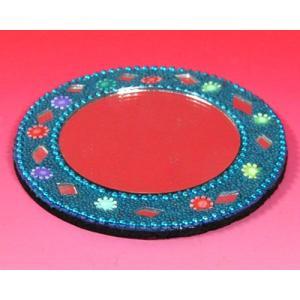 インドのド派手な手鏡 アラブ風 中東 イスラム ミラー ゴテゴテ装飾 アジアン エスニック (青)|mahanadi