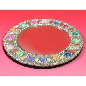 インドのド派手なイスラム風手鏡 (銀) mahanadi