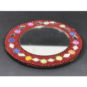 インドのド派手な手鏡 アラブ風 中東 イスラム ミラー ゴテゴテ装飾 アジアン エスニック (赤)|mahanadi