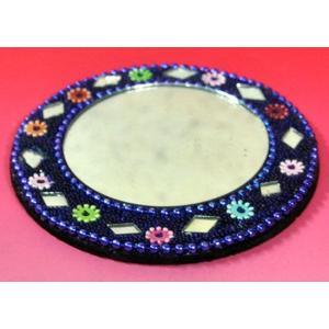 インドのド派手なイスラム風手鏡 (青紫) mahanadi