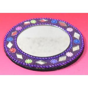 インドのド派手なイスラム風手鏡 (紫) mahanadi