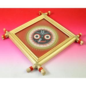 インドの神様ジャガンナータが描かれた椰子の葉細密画 額入り アジアン雑貨 エスニック|mahanadi