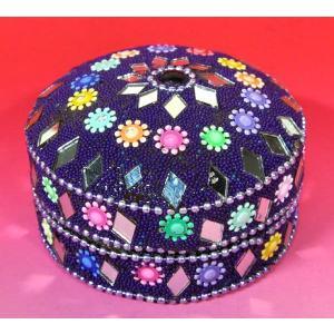 インドの彩色アルミ小物入れ 紫 (大) (アウトレット)|mahanadi
