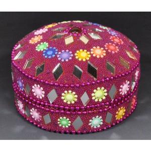 インドの彩色アルミ小物入れ 紫ピンク (大) (アウトレット)|mahanadi