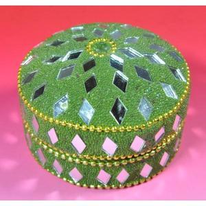 インドの彩色アルミ小物入れ 深緑 (大) (アウトレット)|mahanadi