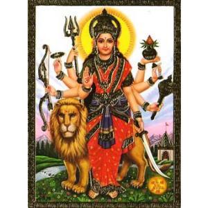 インドのメタリック神様カード Durga(ドゥルガー)|mahanadi