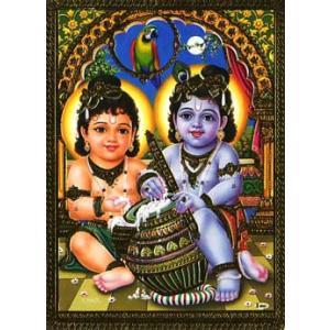 インドのメタリック神様カード Krishna(クリシュナ)|mahanadi