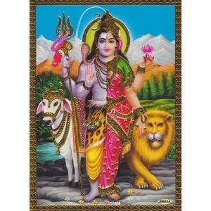 インドのメタリック神様カード / シバとパールバティー|mahanadi