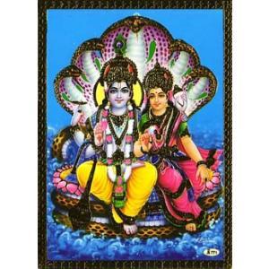 インドのメタリック神様カード ビシュヌとラクシュミー|mahanadi