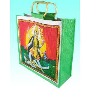 インドの黄麻 神様エコバッグ [シバとカーリー]|mahanadi