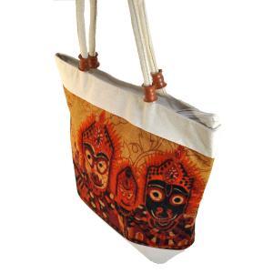 インドのエスニック トートバッグ ジャガンナータ三神 アジアン かばん|mahanadi
