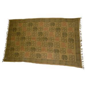 インドのマルチカバー ゴーズ(ガーゼ状) シングルサイズ・ベッドシーツ テーブルクロス等に 象柄 エスニック アジアン|mahanadi