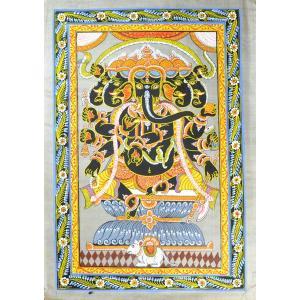 インドの細密画 オリッサ様式の五面ガネーシャ|mahanadi