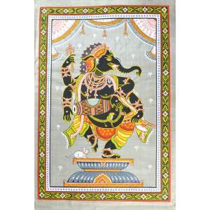 インドの細密画 オリッサ様式のガネーシャ|mahanadi