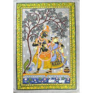 インドの細密画 オリッサ様式のラーダ・クリシュナ|mahanadi