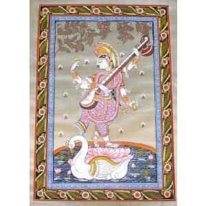 インドの細密画 オリッサ様式のサラスバティー NU-MNATR31|mahanadi