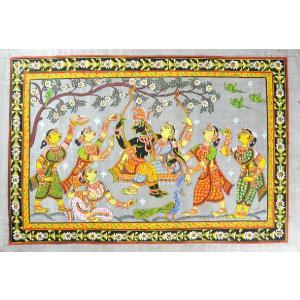 インドの細密画 オリッサ様式のラーダ・クリシュナとゴーピー達|mahanadi
