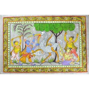 インドの細密画 オリッサ様式のクリシュナの鬼鶴退治|mahanadi