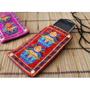 インドのエスニックデザイン携帯・スマホポシェット NU-MOB1|mahanadi