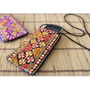 インドのエスニックデザイン携帯・スマホポシェット NU-MOB3|mahanadi