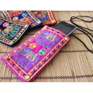 インドのエスニックデザイン携帯・スマホポシェット NU-MOB4|mahanadi