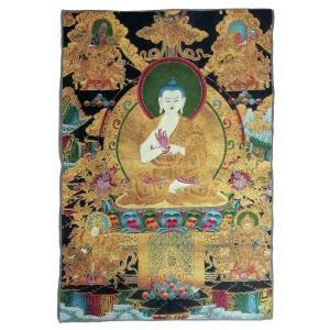 チベット密教仏画掛軸 釈迦如来 仏陀 ブッダ 仏教 織物 タンカ タペストリー 送料無料 NU-TBT200117-1|mahanadi