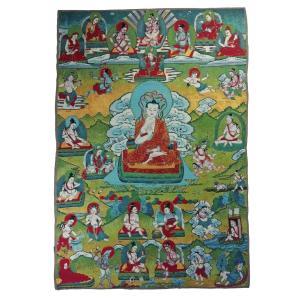 チベット密教仏画掛軸 ムチャリンダ・ブッダ 仏陀 釈迦如来 仏教 織物 タンカ タペストリー 送料無料 NU-TBT200117-2|mahanadi