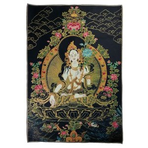 チベット密教仏画掛軸 白多羅菩薩 白ターラ 仏教 織物 タンカ タペストリー 送料無料 NU-TBT200117-3|mahanadi