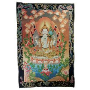 チベット密教仏画掛軸 四臂観音菩薩 仏教 織物 タンカ タペストリー 送料無料 NU-TBT200117-4|mahanadi