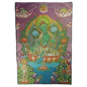 チベット密教仏画掛軸 緑多羅菩薩 緑ターラ 仏教 織物 タンカ タペストリー 送料無料 NU-TBT200117-5|mahanadi