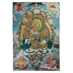 チベット密教仏画掛軸 毘沙門天 クベーラ 仏教 織物 タンカ タペストリー 送料無料 NU-TBT200117-6|mahanadi