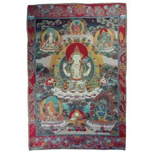 チベット密教仏画掛軸 四臂観音菩薩 仏教 織物 タンカ タペストリー 送料無料 NU-TBT200117-7|mahanadi