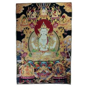 チベット密教仏画掛軸 四臂観音菩薩 仏教 織物 タンカ タペストリー 送料無料 NU-TBT200117-8|mahanadi