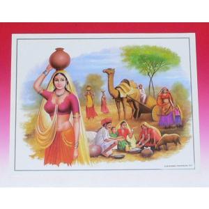 インドの風景ミニポスター ラジャスタンの女性と人々|mahanadi