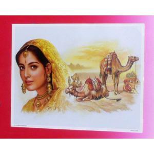 インドの風景ミニポスター ラジャスタンの女性と人々 2|mahanadi