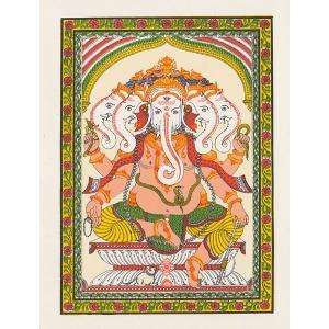 インドのガネーシャの細密画カード(封筒付き)|mahanadi
