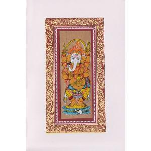 インドのガネーシャの貝葉細密画カード(封筒付き)|mahanadi