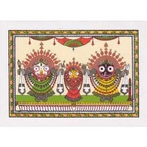 インドのジャガンナータの細密画カード(封筒付き)|mahanadi