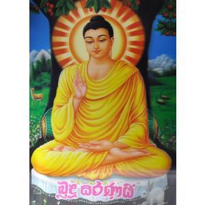 スリランカ仏陀3Dポスター 降魔成道 レンチキュラー プラ板 上座部仏教 シンハラ語|mahanadi