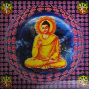 スリランカ仏陀3Dポスター 仏陀と地球 レンチキュラー プラ板 上座部仏教 シンハラ語|mahanadi